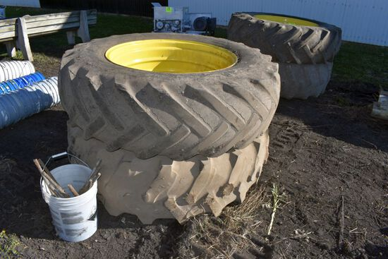 Set of 18.4x34 Band Duals With Rims and Hardware, Extra Set Of 18.4x34 Tires