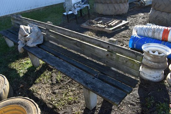 Concrete and Wooden Bench