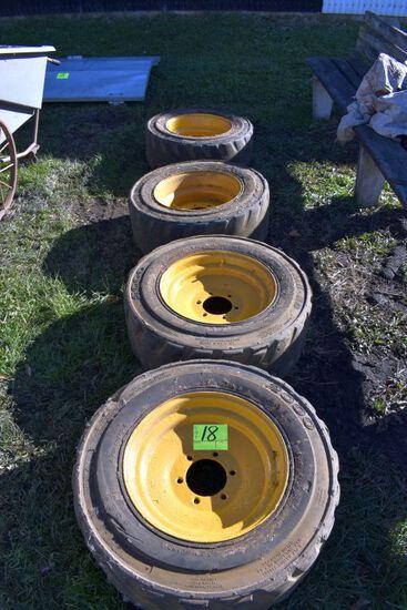 Set of 4 Solid Rubber Skid Loader Rims and Tires, 6 Bolt, 10x16.5, Case Off Case Skid Loader