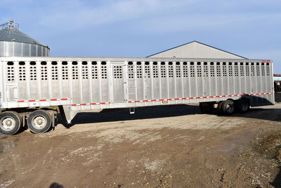 "2014 Eby All Aluminum Ground Load Semi Livestock Trailer, 53'x102""x92"", 5 Compartment, Tandem Axle,"