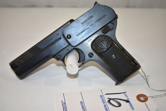 Dreysc Germany Made 9MM Semi Auto Pistol, SN: 237151, one magazine