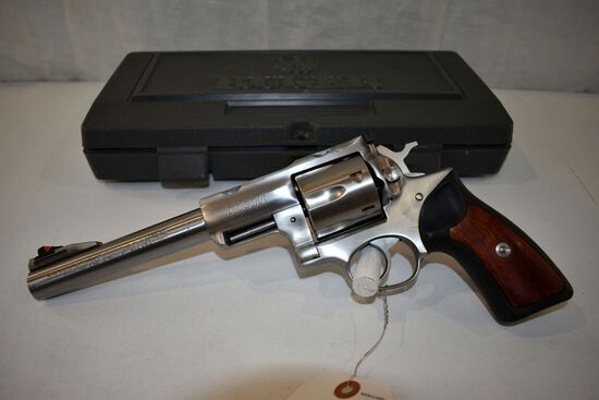 "Ruger Redhawk 44 Magnum Cal Revolver, Stainless, 7 1/2"" Barrel, 6 Shot, Scope Rings In Hard Case, SN"