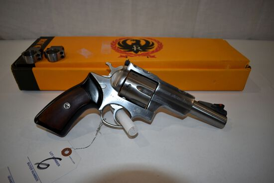 "Ruger Super Redhawk 44 Mag Revolver, Stainless, 5"" Barrel, SN: 550-01493, scope rings, With Box, box"