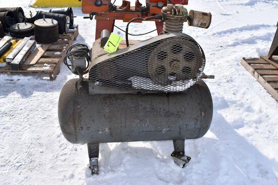 Horizontal Air Compressor, single cylinder, 110volt, 3/4HP motor