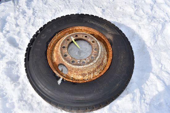 295/75R22.5 Tire on Steel Rim