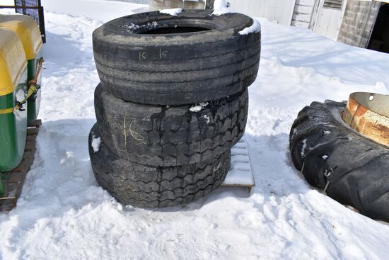 (3) 425/65R22.5 Tires, Selling All For One Money