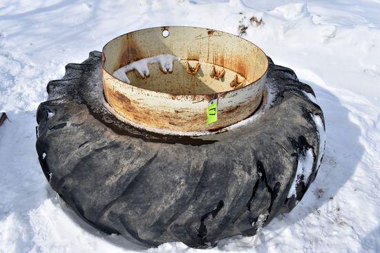 20.8x38 Tire On Band Dual Rim