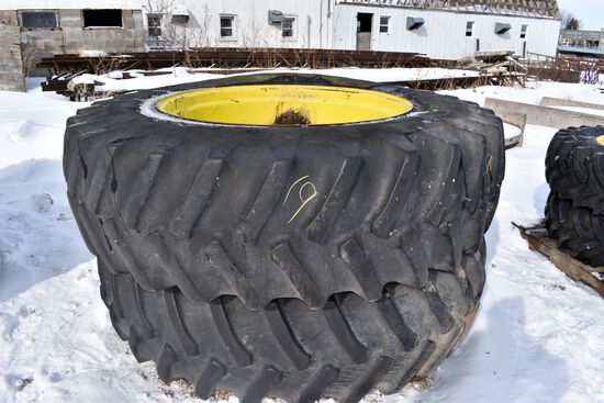 (2) 20.8x42 Tires on John Deere 10 Bolt Rims, selling 2 x $