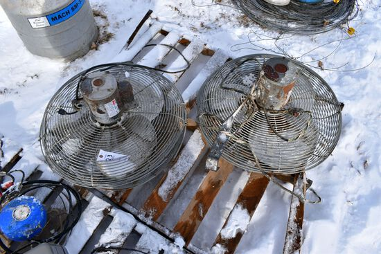 Two Hanging Barn Fans