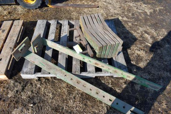 (6) John Deere Slab Weights, selling 6 x $ with two brackets