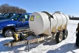 1000 Gallon Liquid Tender On Tandem Axle Trailer,