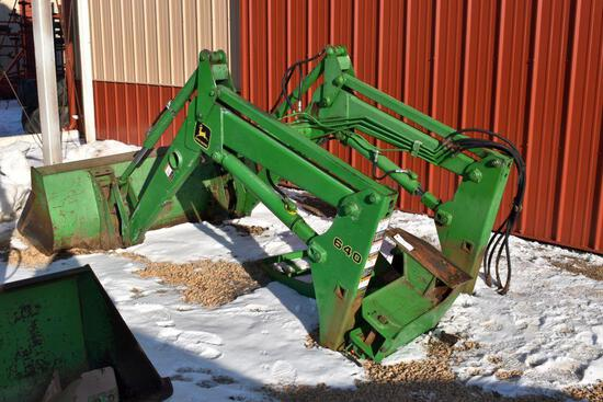 "John Deere 640SL Hydraulic Loader, 79"" Quick Attach Bucket, With Loader Mounts Off Of"