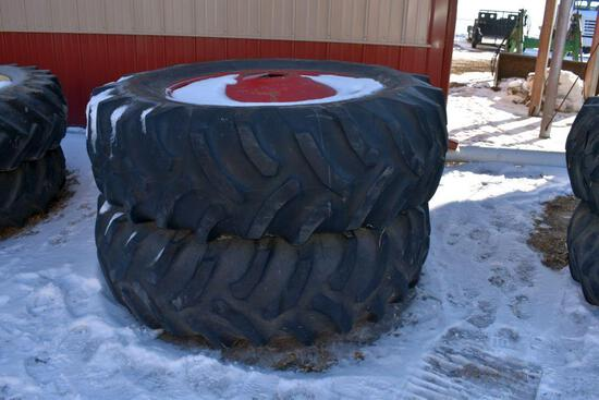 Pair of 20.8x38 Tires on M&W 9 Bolt Duals, Painted Red