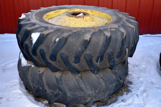 Pair of 18.4x34 Tires on John Deere 9 Bolt Rims, Duals