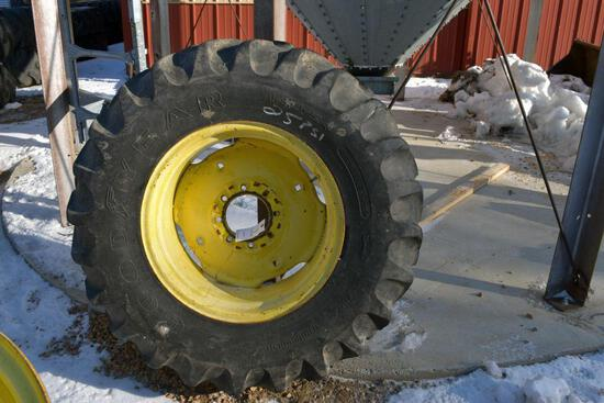 Goodyear 14.9x24 Tire on John Deere Rim 8 Bolt