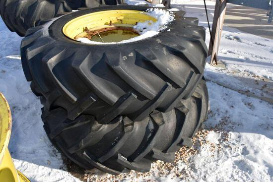 Pair Of 16.9x26 Tires on John Deere MFWD 12 Bolt Rims
