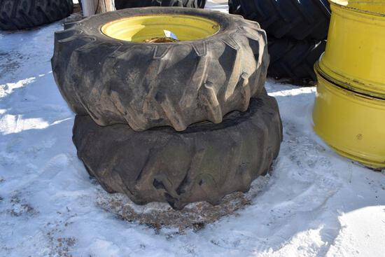 "Pair of Firestone 16.9x26 Tires on John Deere 8 Bolt Rims, 6"" Center"