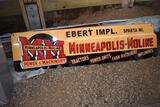 Porcelain Minneapolis Moline Dealer Sign, Ebert Implement Sparta Wi. In vinyl letters,
