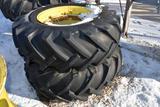 Pair Of 16.9x26 Tires on John Deere MFWD 12 Bolt Rims