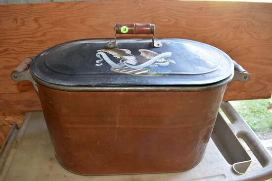 "Copper Boiler, 13"" high x 26"" across"