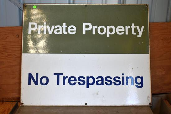 """Porcelain Private Property Sign, 30""""long x 24"""" high"""