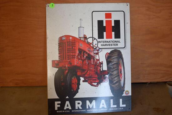 "Tin IH Farmall Sign, 12""wide x 16""high"