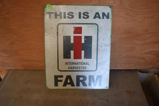 """Tin Intrenational Harvester Sign 16"""" tall x 12 1/2"""" wide"""