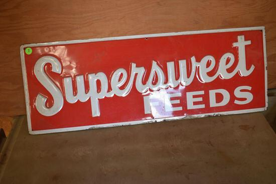 """Tin Supersweet Feeds Sign 28"""" x 10"""""""