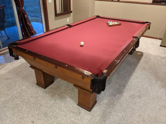 Vintage Brunswick-Balke-Collender Billiards Pool Table, Wellington and Coreno Model,