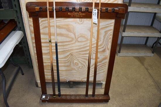 Vintage Brunswick-Balke-Collender Billiards Wall Mount Cue Stick Holder, With Cues believed to