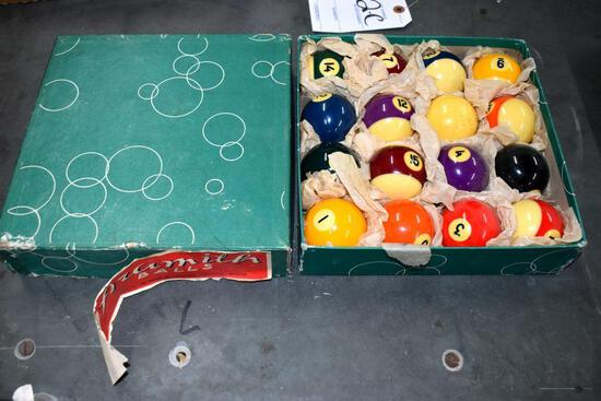 Set of vintage Aramith pool balls
