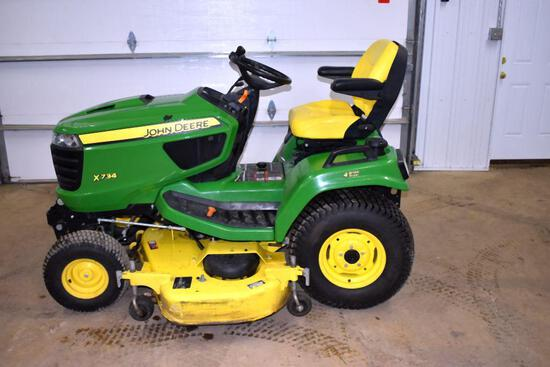 "John Deere X734 Garden Tractor, 4 Wheel Steer, 60"" Mower Deck, 403 One Owner Hours, Hydraulic"