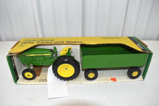 Ertl Blue Print Replica John Deere Utility Tractor with Wagon 1/16 scale with box