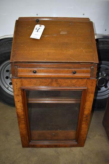 Mahogany drop down writing desk with glass door cabinet, believed to have come out of ship or