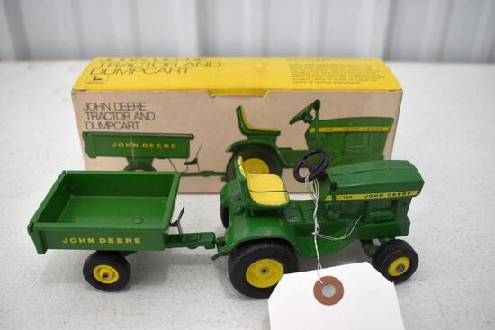 Original Ice Cream Box Ertl John Deere 140 Garden Tractor With Dump Cart Box in Good Condition