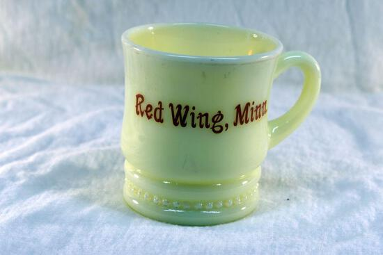 Custard glass cup from Red Wing MN