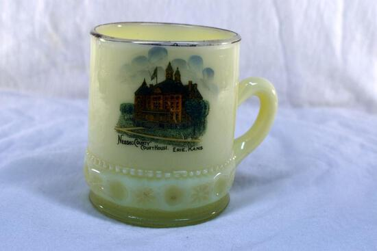 Custard glass cup from Neosho County Court House Erie KA