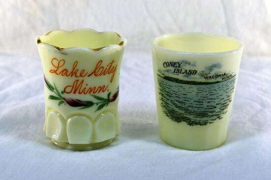 2 Custard glass toothpick holders 1 from Lake City MN and 1 from Waconia MN