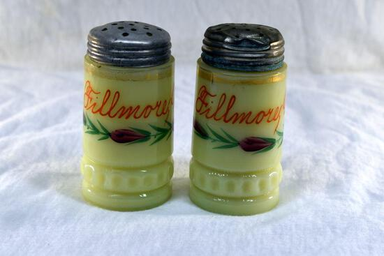 Custard glass salt and pepper from Filmore Wis