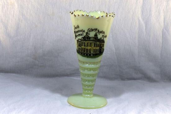 Custard glass vase with South MN Normal College Austin MN advertising