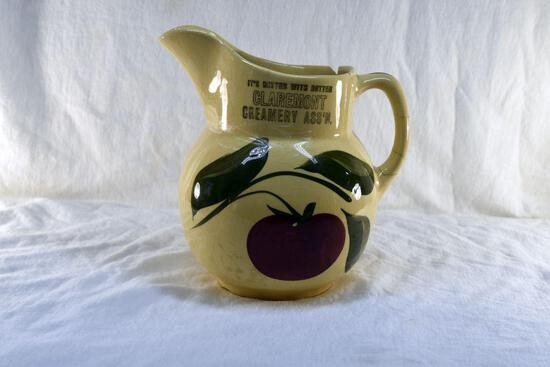 Watt Ware Pottery Pitcher from Claremont Creamery has chips and cracks