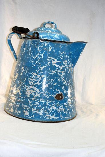 Blue swirl enamel coffee pot