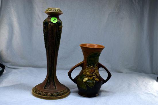 Roseville vase has crack been reglued and Roseville vase 73-6 has chips