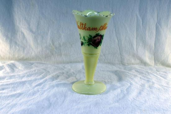 Custard glass vase with Waltham MN advertising