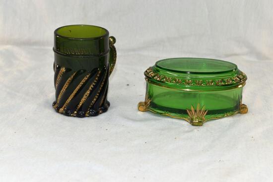 Souvenir from Faribault Mn dresser jar and mug