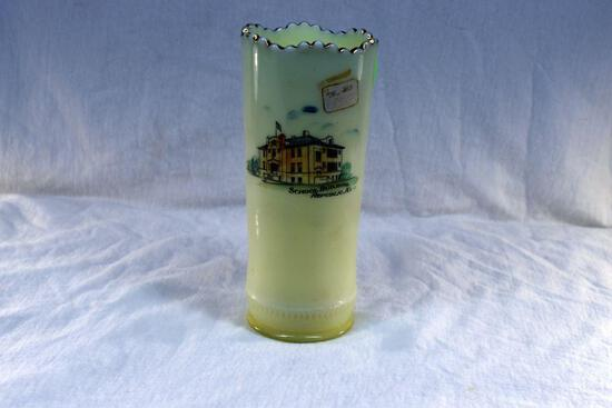 Custard glass vase with Republic Kans. Advertising