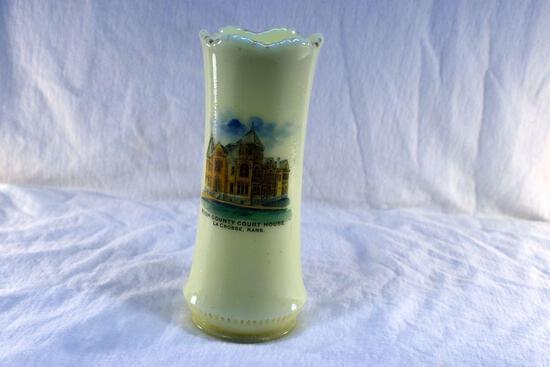 Custard glass vase from Rush County Court House LaCrosse KA