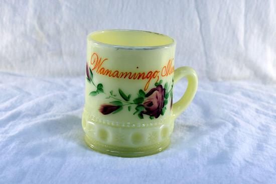Custard glass cup from Wanamingo MN