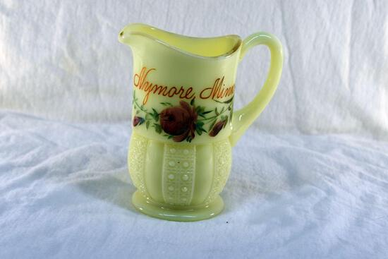 Custard glass pitcher from Nymore MN