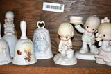 3 Precious Moments Figurines and 4 Bells